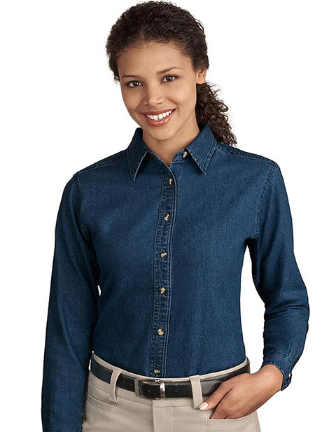 Sanmar Port & Company Womens Long Sleeve Value Denim Shirt
