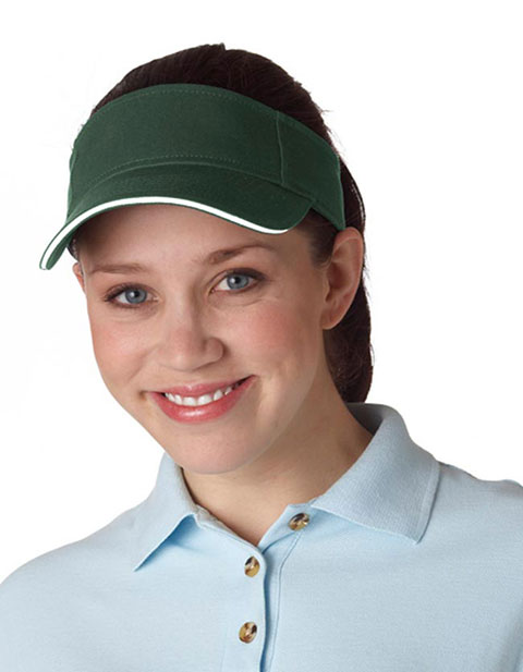 8113 UltraClub Classic Cut Brushed Cotton Twill Sandwich Visor