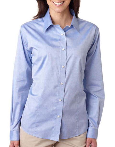 8381 UltraClub® Ladies' Non-Iron Pinpoint Shirt