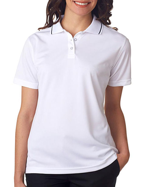 8394L UltraClub Ladies' Polo with Tipped Collar