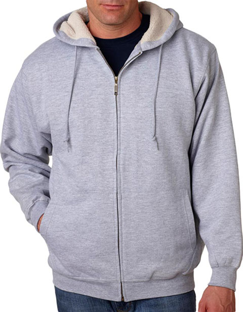 8450 UltraClub Adult Sherpa-Lined Full-Zip Fleece with Hood