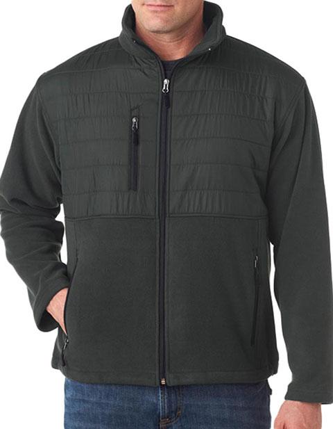 8492 UltraClub Adult Fleece Jacket with Quilted Yoke Overlay