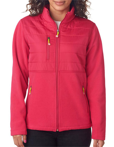 8493 UltraClub Ladies' Fleece Jacket with Quilted Yoke Overlay