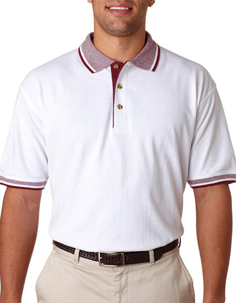 UltraClub Adult White-Body Classic Piqué Polo with Multi-Stripe Trim