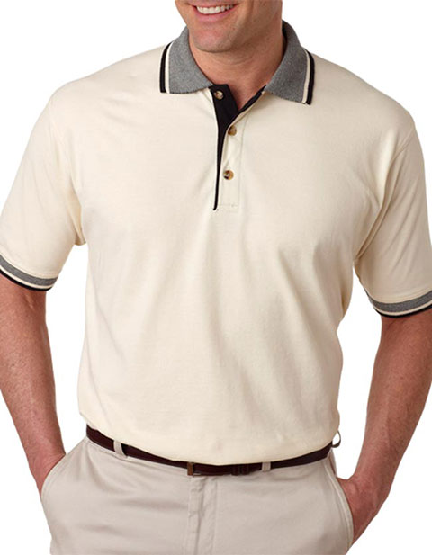 UltraClub Adult Color-Body Classic Piqué Polo with Multi-Stripe Trim