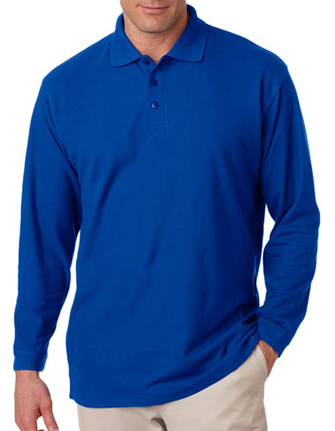 8542 UltraClub® Adult Long-Sleeve Whisper Piqué Polo
