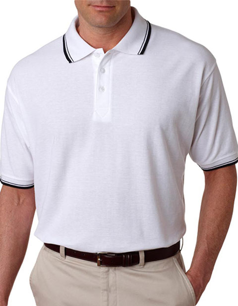 UltraClub Men's Short-Sleeve Whisper Piqué Polo with Rib-Knit Collar