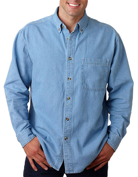 8960 UltraClub® Men's Long-Sleeve Cypress Denim with Pocket