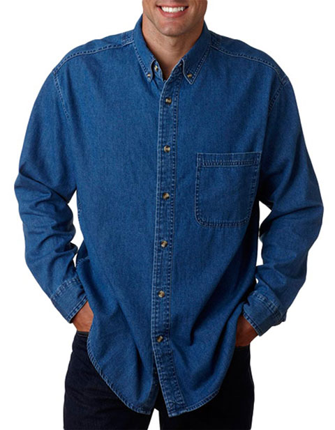 8960T UltraClub® Men's Tall Long-Sleeve Cypress Denim with Pocket