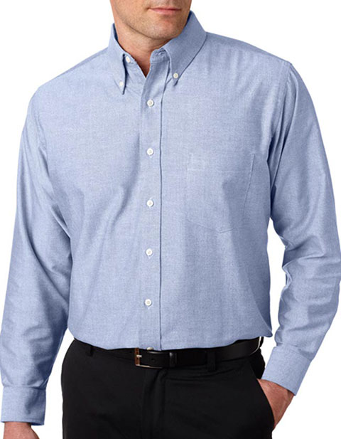 UltraClub Men's Tall Classic Wrinkle-Free Long-Sleeve Oxford