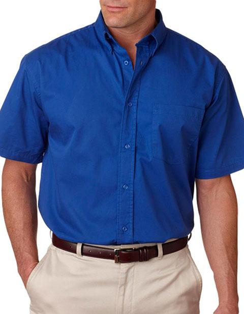 8977 UltraClub® Adult Whisper Twill Short-Sleeve Shirt