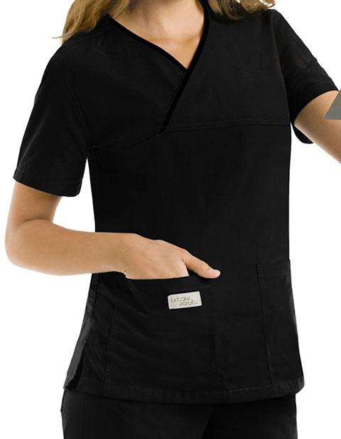 Urbane Womens Double Pocket Crossover Nursing Scrub Top