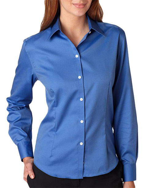 V0144 Van Heusen Ladies' Long-Sleeve Non-Iron Pinpoint Oxford