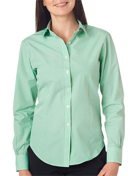 V0226 Van Heusen Ladies' Long-Sleeve Yarn-Dyed Gingham Check
