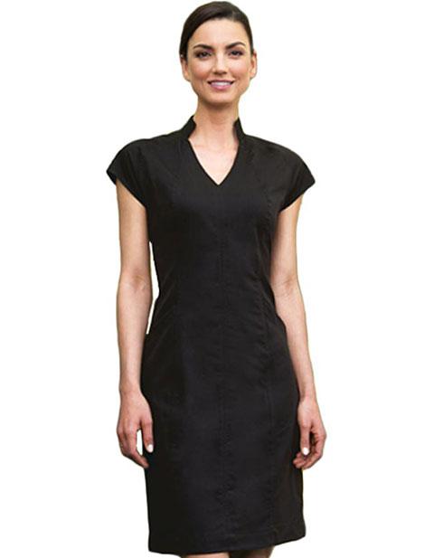 Barco Verite Dress Mandarin Coller Cap Elastic Back Waist