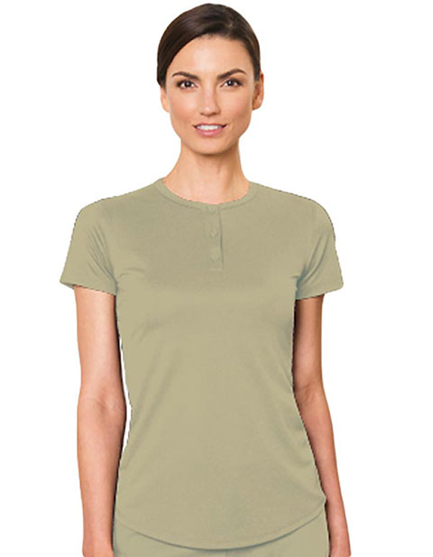 Barco Verite Fabia Women's Short Sleeve Henley Tee with Three Buttons