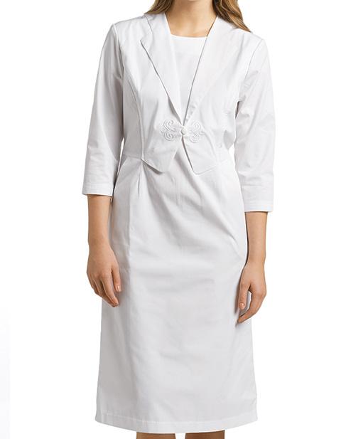 White Cross Women's Group Mock vest style Dress