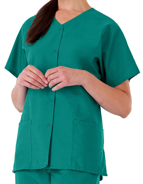 White Swan Fundamentals Women's Snap Front Scrub Top