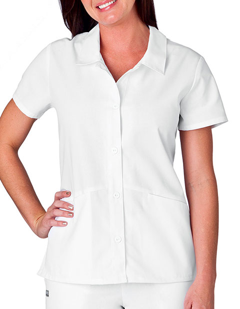 White Swan Fundamentals Ladies Button Front Placket Collar Scrub Top