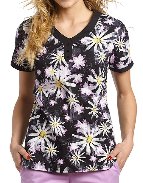 White Cross Crazy Daisy Lilac Print Button Trim V-neck Top
