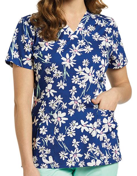 White Cross Women's Blue Melody Print V-Neck Scrub Top