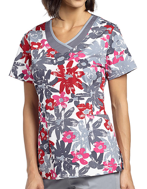 White Cross Womens Abby Bloom Curved V-neck top