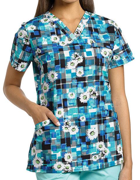White Cross Womens Daisy Mint V-Neck 3 Pocket Top
