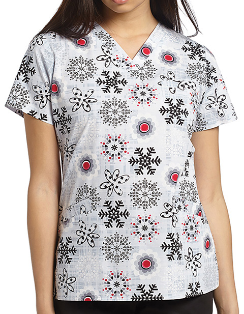 White Cross Women's V-Neck Winter Ice Blooms Printed Three Pocket Top