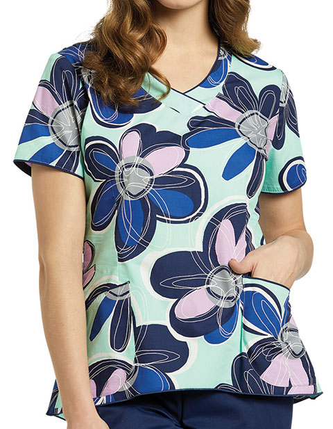 White Cross Womens Playful Petals Mint V-Neck Printed Scrub Top