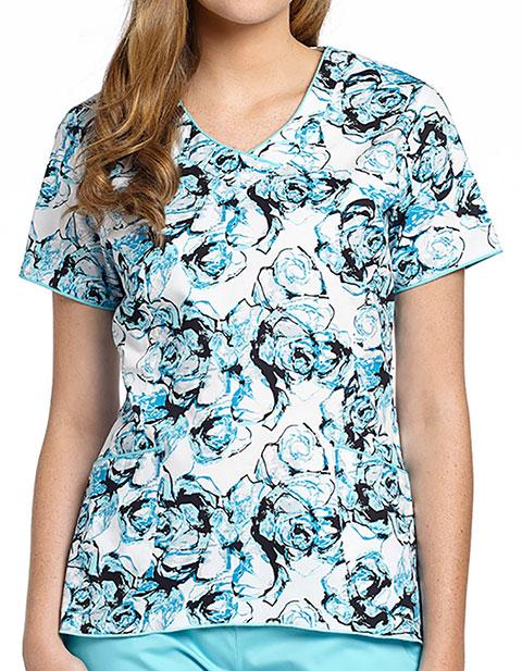 White Cross Womens Pacifica V-Neck Printed Scrub Top