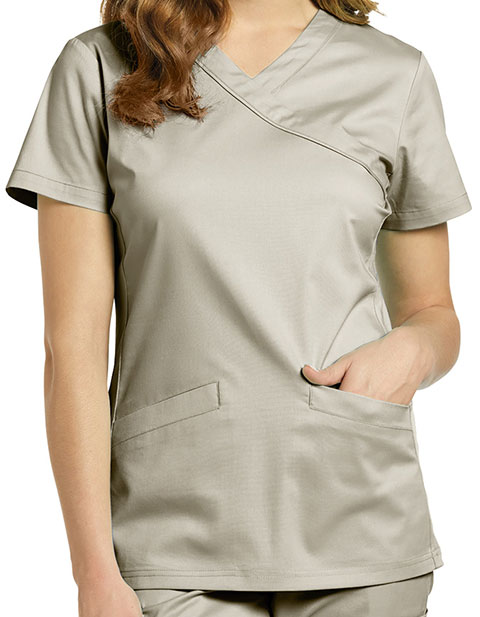 White Cross Allure Women's Mock Wrap Solid Top
