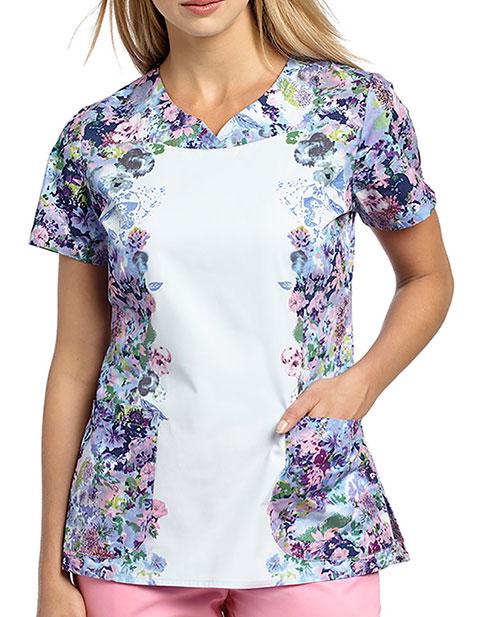White Cross Womens Waterfall Bouquet Notch neckline top