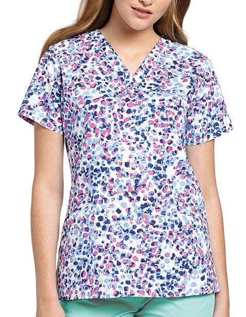 White Cross Womens Mixed Petals V-Neck Angled Pocket Top