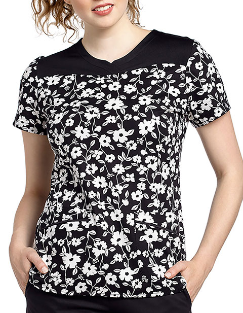 White Cross Womens Kensie Printed Scrub Top