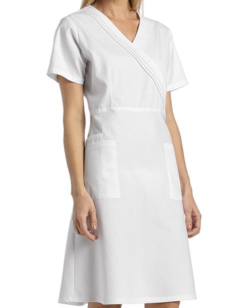 White Cross Women's Pleated Mock wrap Dress