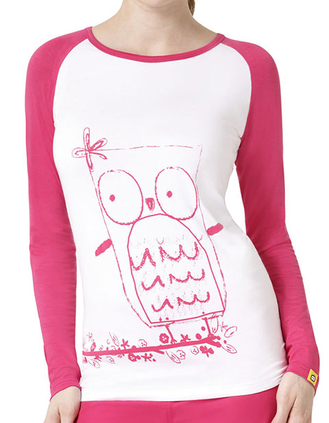 WonderWink Layers Women's Whoo's Cute Round Neck Tee