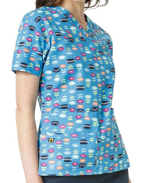 WonderWink Origins Prints Womens Bravo Cheshire Garden Print Top