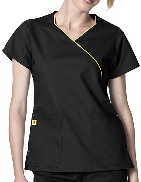 Wink Scrubs Women's The Hotel Fit Mock Wrap Solid Scrub Top