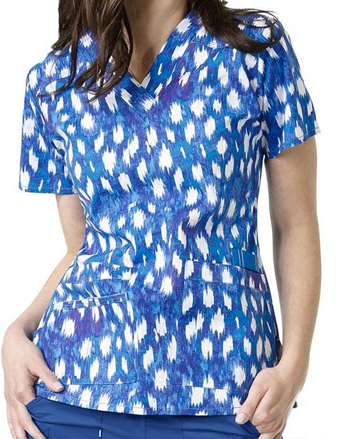 WonderWink WonderFLEX Prints Womens Verity Blue Rush Print V-Neck Top