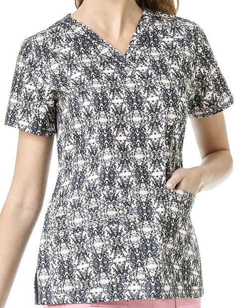WonderWink WonderFLEX Prints Womens Verity Mirror Image Print V-Neck Top