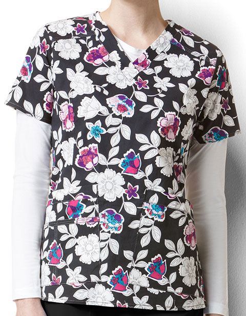 WonderWink WonderFlex Prints Women's Verity Flower Petal Print Top