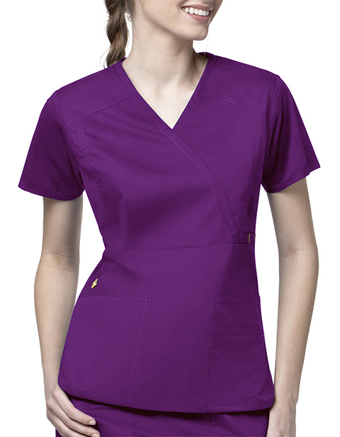 Wink Scrubs Women Mock Wrap Multi-Pocket Nursing Top