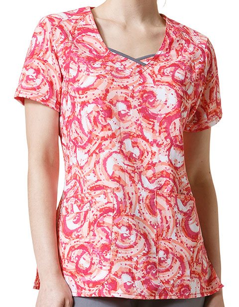 WonderWink Four-Stretch Women's Coral Curve-Centric Fashion Top
