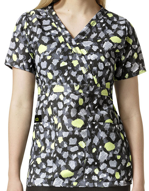 WonderWink Easy Fit Prints Women's Mock Y-Neck Top