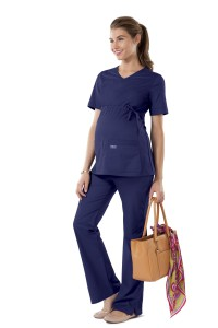 Workwear Maternity V-Neck Knit Panel Nurse Scrub Top