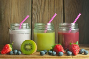 Three flavoured smoothies in jars