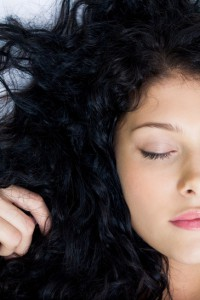 Close-up of serene brunette sleeping peacefully