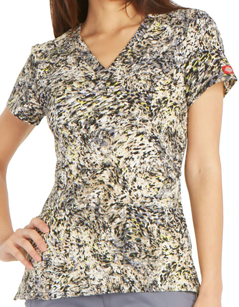 Dickies Women's Camo Swirl Printed Mock Wrap Scrub Top